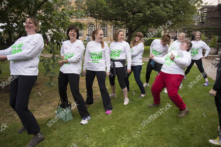 Stock Image of 02 06 2015 Macmillan's House of Lords Vs House of Commons Tug of War Westminster College Gardens London the Ladies Mp's Team Antoinette Sandback Mp Clare Perry Mp Angela Rayner Mp Anne-marie Trevelyan Mp Kelly Tolhurst Mp Alison Mcgovern Mp Sophie Carter Emily Knight & Therese Coffey Mp