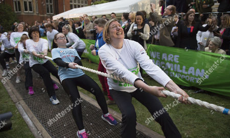 02 06 2015 Macmillan's House of Lords Vs House of Commons Tug of War Westminster College Gardens London the Ladies Mp Team Antoinette Sandback Mp Clare Perry Mp Angela Rayner Mp Anne-marie Trevelyan Mp Kelly Tolhurst Mp Alison Mcgovern Mp Sophie Carter Emily Knight & Therese Coffey Mp
