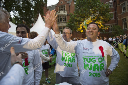 02 06 2015 Macmillan's House of Lords Vs House of Commons Tug of War Westminster College Gardens London the Lord's Team Lord Karan Bilmoria Lord Brian Paddick Lord Michael Dodds