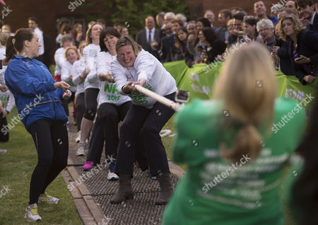 Stock Picture of 02 06 2015 Macmillan's House of Lords Vs House of Commons Tug of War Westminster College Gardens London Theladies Mp Team Antoinette Sandback Mp Clare Perry Mp Angela Rayner Mp Anne-marie Trevelyan Mp Kelly Tolhurst Mp Alison Mcgovern Mp Sophie Carter Emily Knight & Therese Coffey Mp