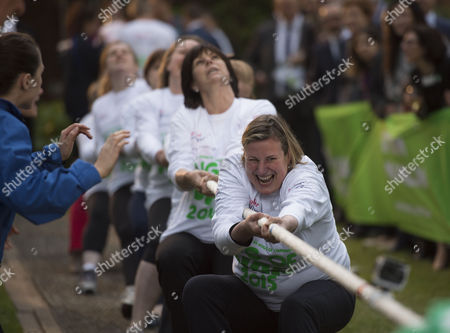 02 06 2015 Macmillan's House of Lords Vs House of Commons Tug of War Westminster College Gardens London Theladies Mp Team Antoinette Sandback Mp Clare Perry Mp Angela Rayner Mp Anne-marie Trevelyan Mp Kelly Tolhurst Mp Alison Mcgovern Mp Sophie Carter Emily Knight & Therese Coffey Mp