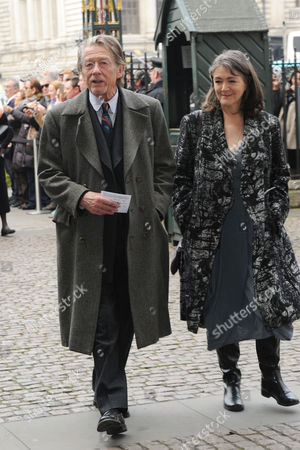 Lord Attenborough's Memorial Service at Westminster Abbey John Hurt with His Wife Anwen Rees Meyers