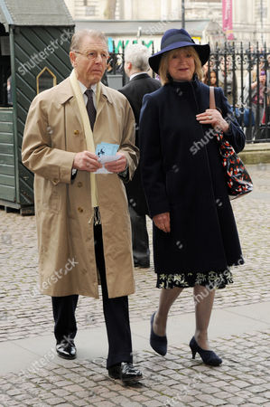 Lord Attenborough's Memorial Service at Westminster Abbey Joanna David with Husband Edward Fox