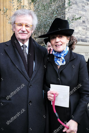 Memorial Service For Sir Joselyn Stevens at St Pauls Church Wilton Place Knightsbridge London the Widow Emma Cheape with Prof Sir Christopher Frayling
