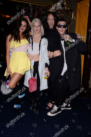 Moschino and I-d Magazine Party at Cafe De Paris Bip Ling Genevieve Garner Leia Contois and Jimmy Q