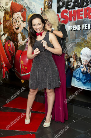 Mr Peabody and Sherman Uk Gala Screening at the Vue Cinema Leicester Square London Nicola Mclean Helps Leila Birch with Her Bow Tie