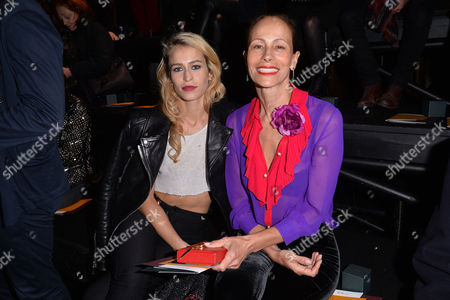 London Fashion Week - Mulberry Aw16 Fashion Show at Guildhall Front Row - Alice Dellal with Her Mother Andrea Dellal