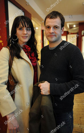 Stock Image of Natasha Law 'Room' Exhibition Launch Eleven Gallery at the Other Space Charing Cross Road London Jonny Lee Miller with Michelle Hicks