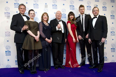 National Television Awards - Press Room at the 02 Hugh Bonneville Sophie Mcshera Phyllis Logan Julian Fellowes Lily James Matt Milne and Gareth Neame - Winner of Best Drama Downton Abbey