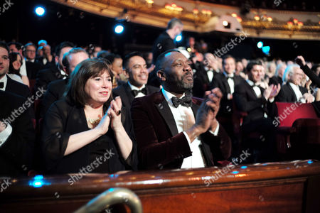 Olivier Theatre Awards at the Royal Opera House - Special Access Red Carpet Pre-show Reception and Auditorium Lenny Henry with His Girlfriend Lisa Makin