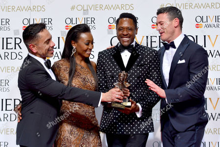 2016 Olivier Awards at the Royal Opera House - Press Room David Bedella (best Actor in A Supporting Role in A Musical For 'In the Heights') and Matt Henry (best Actor in A Musical 'Kinky Boots') Presented by Luke Evans and Beverley Knight
