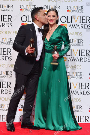 2016 Olivier Awards at the Royal Opera House - Press Room David Bedella (best Actor in A Musical 'In the Heights') with Lara Pulver (best Actress in A Supporting Role in A Musical 'Gypsy')