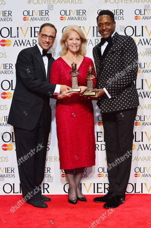 2016 Olivier Awards at the Royal Opera House - Press Room Producers Hal Luftig and Daryl Roth (best New Musical 'Kinky Boots') with Matt Henry (best Actor in A Musical 'Kinky Boots')