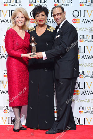 2016 Olivier Awards at the Royal Opera House - Press Room Producers Hal Luftig and Daryl Roth (best New Musical 'Kinky Boots') with Presenter Shirley Bassey