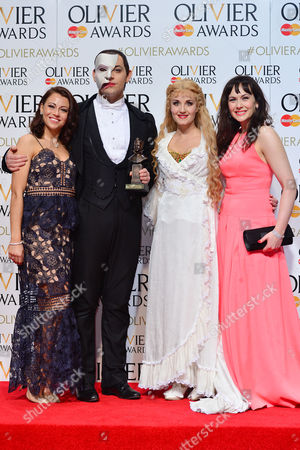 2016 Olivier Awards at the Royal Opera House - Press Room Audience Award For 'Phantom of the Opera' Collected by Ben Forster and Celinde Schoenmaker Presented by Emma Hatton and Savannah Stevenson