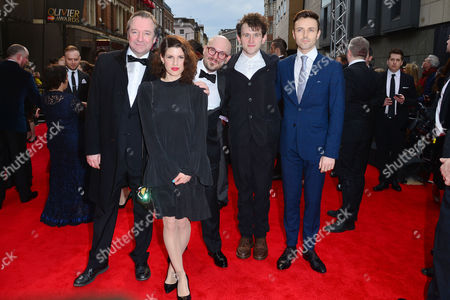 Stock Picture of Olivier Awards Red Carpet Arrivals at the Royal Opera House Neil Pearson Jemima Rooper Robert Askins Harry Melling and Kevin Mains