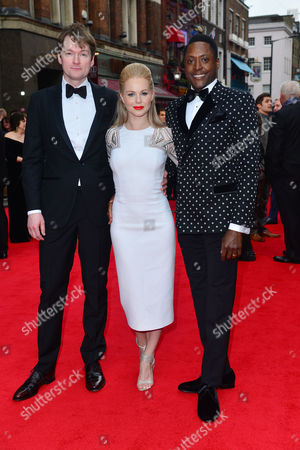 Olivier Awards Red Carpet Arrivals at the Royal Opera House Killian Donnelly Amy Lennox and Matt Henry (kinky Boots)