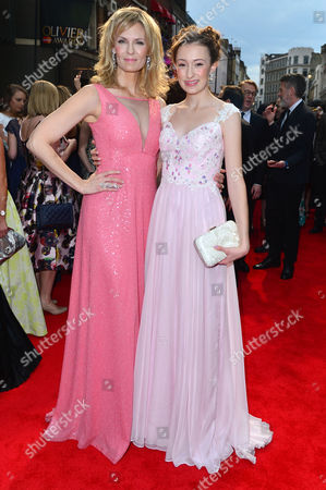 Stock Picture of Olivier Awards Red Carpet Arrivals at the Royal Opera House Leigh Zimmerman and Cayleigh Allen
