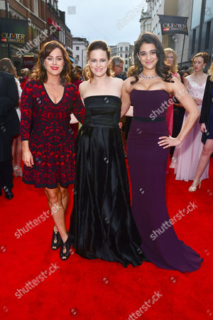 Olivier Awards Red Carpet Arrivals at the Royal Opera House Jill Halfpenny Katie Brayben and Natalie Dew