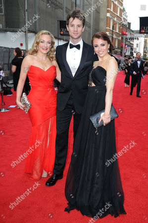 Stock Picture of Laurence Olivier Theatre Awards 2015 Arrivals at the Royal Opera House Sophie Linder-lee Jeremy Taylor and Emma Hatton - Cast of Wicked