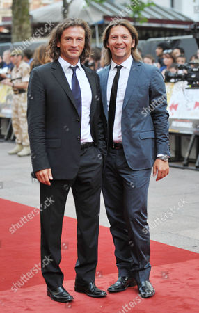 Outside Arrivals For the Uk Premiere For 'The Expendables' at the Odeon Leicester Square Manuele Malenotti and Michele Malenotti (belstaff)