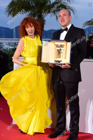 Palme D'or Winners Photocall at the Palais Des Festivals During the 68th Cannes Film Festival Sabine Azema and Director Cesar Augusto Acevedo Winner of the Camera D'or