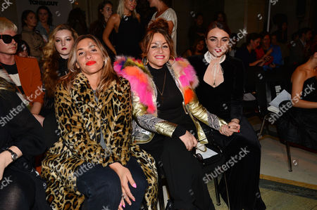 Pam Hogg Front Row Fashion Show During London Fashion Week Ss16 at Vauxhall Fashion Scout Melanie Blatt (her Daughter Was On the Catwalk) with Jaime Winstone and Her Sister Lois Winstone