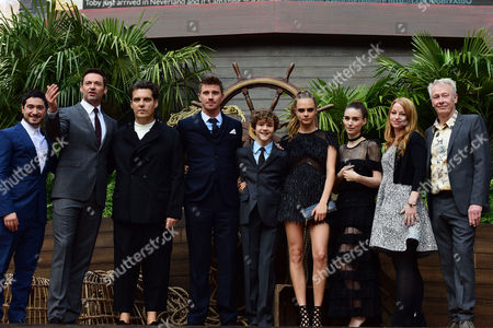 'Pan' World Premiere at Odeon Leicester Square Jason Fuchs Hugh Jackman Director Joe Wright Garrett Hedlund Levi Miller Cara Delevingne and Rooney Mara with Producers Paul Webster and Sarah Schechter