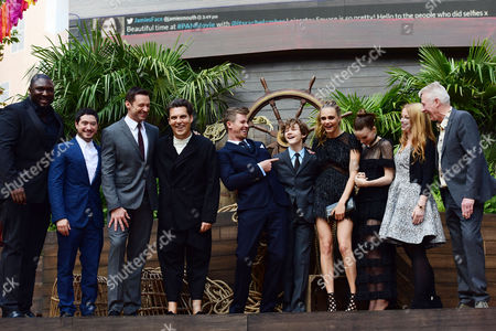 'Pan' World Premiere at Odeon Leicester Square Nonso Anozie Jason Fuchs Hugh Jackman Director Joe Wright Garrett Hedlund Levi Miller Cara Delevingne and Rooney Mara with Producers Paul Webster and Sarah Schechter