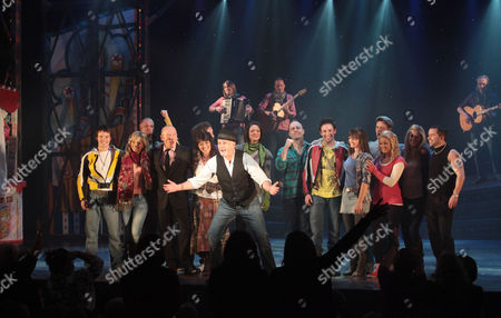 Stock Picture of Press Night For 'All the Fun of the Fair' at the Garrick Theatre and Afterparty at Jewel Covent Garden Curtain Call - Christopher Timothy Louise English David Essex and Michael Pickering Nicola Brazil Susan Hallam-wright and Chris Holland