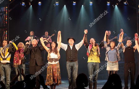 Stock Image of Press Night For 'All the Fun of the Fair' at the Garrick Theatre and Afterparty at Jewel Covent Garden Curtain Call - Christopher Timothy Louise English David Essex and Michael Pickering