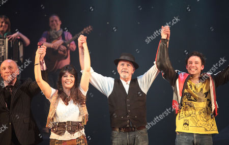 Stock Photo of Press Night For 'All the Fun of the Fair' at the Garrick Theatre and Afterparty at Jewel Covent Garden Curtain Call - Christopher Timothy Louise English David Essex and Michael Pickering