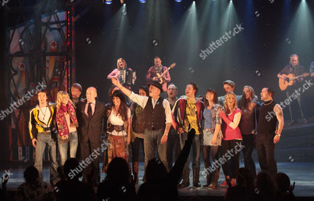Press Night For 'All the Fun of the Fair' at the Garrick Theatre and Afterparty at Jewel Covent Garden Curtain Call - Christopher Timothy Louise English David Essex and Michael Pickering Nicola Brazil Susan Hallam-wright and Chris Holland
