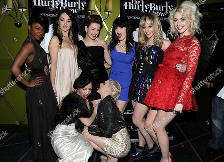 Press Night For 'The Hulry Burly Show' at the Pigalle Club Piccadilly the Cast with Miss Polly Rae