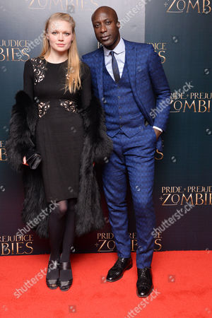 Pride + Prejudice + Zombies Premiere at the Odeon Leicester Square Katia Elizarova and Ozwald Boateng