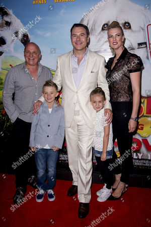 Pudsey the Dog: the Movie World Premiere at the Vue Leicester Square Aldo Zilli with His Wife Nikki Children Rocco and Twiggy and David Walliams