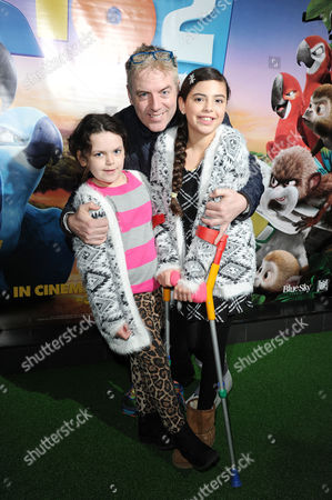 Rio 2 Uk Gala Screening at the Vue Westend Donal Macintyre with His Daughters Allegra and Tiger-lily