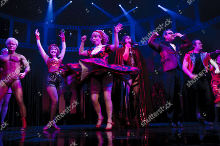 Rocky Horror Show 40th Anniversary Opening Night at the New Wimbledon Theatre Curtain Call - Rhydian Roxanne Pallett Oliver Thornton and Ben Forster