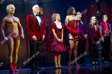 Rocky Horror Show 40th Anniversary Opening Night at the New Wimbledon Theatre Curtain Call - Rhydian Philip Franks Roxanne Pallett Oliver Thornton and Ben Forster