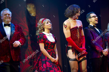 Rocky Horror Show 40th Anniversary Opening Night at the New Wimbledon Theatre Curtain Call - Roxanne Pallett Oliver Thornton and Ben Forster