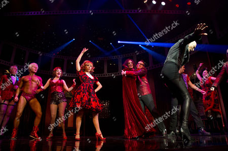 Rocky Horror Show 40th Anniversary Opening Night at the New Wimbledon Theatre Curtain Call - Rhydian Roxanne Pallett Oliver Thornton Ben Forster and Richard O'brien