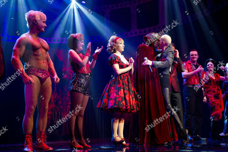 Rocky Horror Show 40th Anniversary Opening Night at the New Wimbledon Theatre Curtain Call - Rhydian Roxanne Pallett Oliver Thornton and Richard O'brien