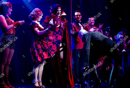 Rocky Horror Show 40th Anniversary Opening Night at the New Wimbledon Theatre Curtain Call - Roxanne Pallett Oliver Thornton Ben Forster and Richard O'brien