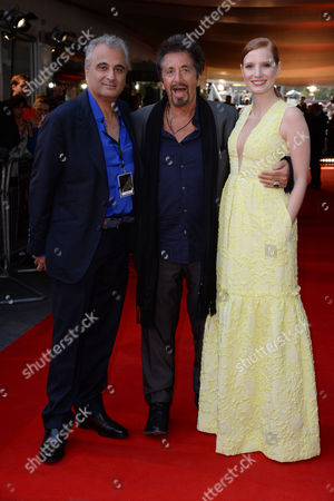 Stock Image of Salome/wilde Salome Premiere at the Bfi Southbank Producer Barry Navidi with Jessica Chastain and Al Pacino