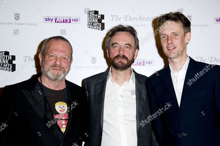 the South Bank Sky Arts Awards Press Room at the Dorchester Hotel Terry Gilliam Winner of Best Opera with Ian Bostridge (r) For the Damnation of Faust Eno