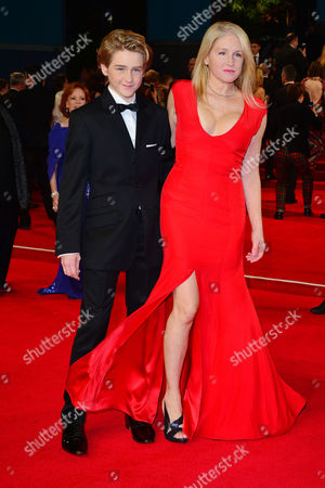 Stock Image of Spectre Royal World Premiere Vip Access at the Royal Albert Hall Birgit Cunningham with Her Son Jack Nuttall