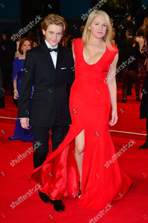 Stock Photo of Spectre Royal World Premiere Vip Access at the Royal Albert Hall Birgit Cunningham with Her Son Jack Nuttall