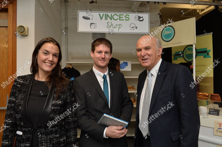 James Caan Chairman of Start Up Loans and Vince Cable Mp Secretary of State For Business Innovation and Skills Announce the 10000 Business Helped by Start Up Loans at the Hub New Zealand House Haymarket London Yasmina Siadatan Creative Director Start Up Loans Company with Simon Finch of Finch Installations Swindon and Vince Cable Mp Secretary of State For Business Innovation and Skills