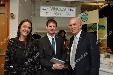 James Caan Chairman of Start Up Loans and Vince Cable Mp Secretary of State For Business Innovation and Skills Announce the 10000 Business Helped by Start Up Loans at the Hub New Zealand House Haymarket London Yasmina Siadatan Creative Director Start Up Loans Company Withsimon Finch of Finch Installations Swindon and Vince Cable Mp Secretary of State For Business Innovation and Skills