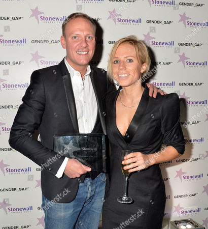 Stonewall Awards 2013 at the V&a Antony Cotton ( Winner Entertainer of the Year ) with Clemmie Moodie